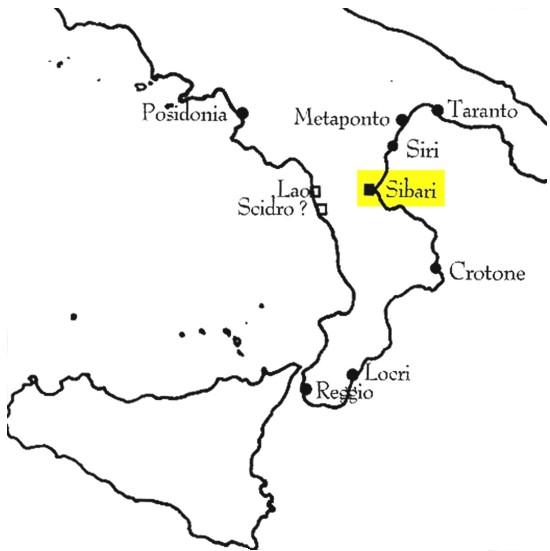 Cartina di Sibari - Click to enlarge